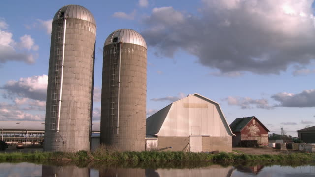 vidéos et rushes de ws view of dairy farm with silo besides pond / newark, illinois, usa - silo