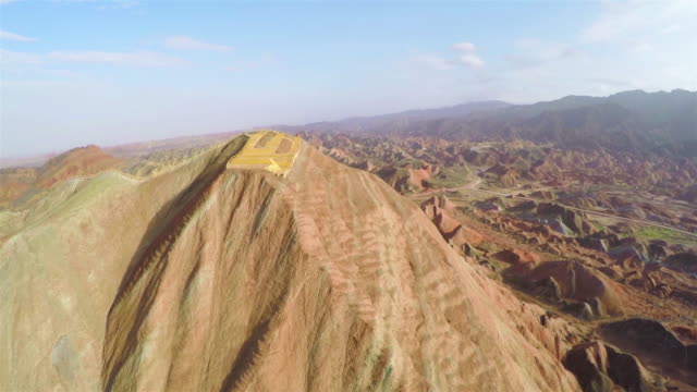 WS AERIAL View of Danxia Landforms in Zhangye /Zhangye, Gansu,China.