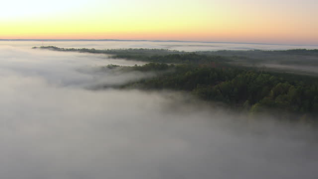 ws aerial view of dawn over fog covered forests in tuscaloosa county / alabama, united states - majestic stock videos & royalty-free footage