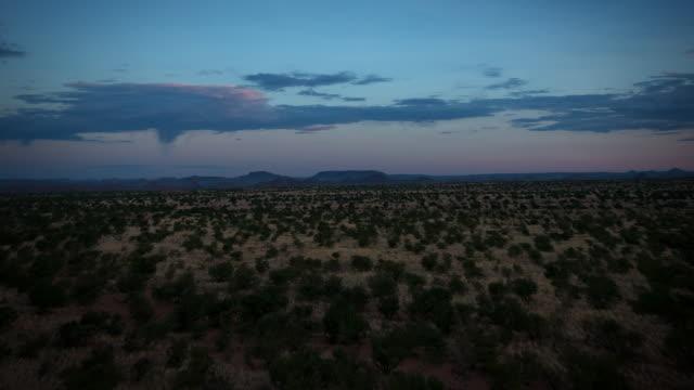 WS T/L ZO View of dawn over Namibian bush land / Windhoek, NAMIBIA, Namibia