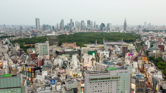 ws t/l view of day to night transition over shibuya area with yoyogi park and shinjuku area in distance / tokyo, japan - restlessness stock videos and b-roll footage