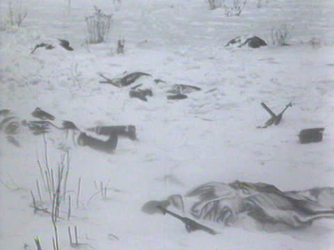 ms view of dead bodies covered by snow audio / russia - anno 1941 video stock e b–roll