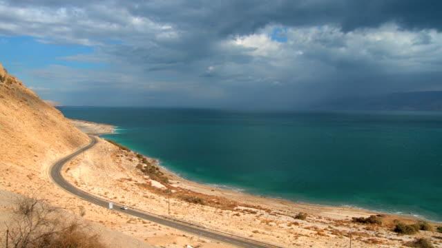 ws pan view of dead sea / ein gedi,judean desert, israel - dead sea stock videos and b-roll footage