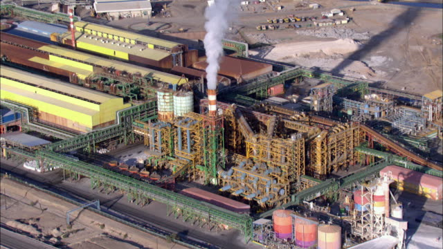 WS POV ZI ZO AERIAL View of dead sea Industries / Judean Desert, Israel