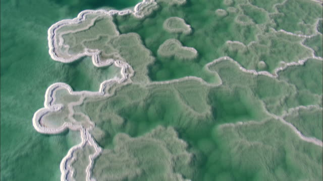 aerial ts ms view of dead sea / sourn judea desert, israel  - dead sea stock videos and b-roll footage