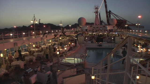 ws ha view of deck of cruise ship anchored in harbor, muscat, oman - schiffsdeck stock-videos und b-roll-filmmaterial