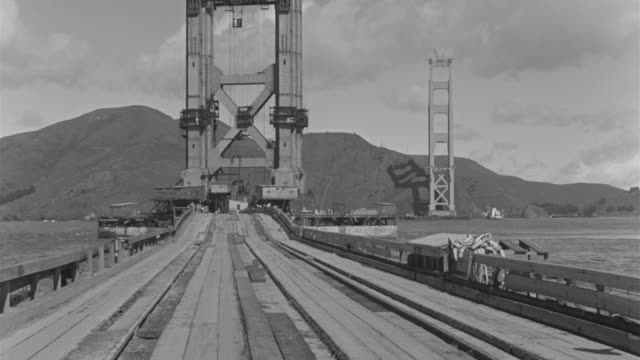 ws view of deck way in front of golden gate bridge  - bridge built structure stock videos and b-roll footage