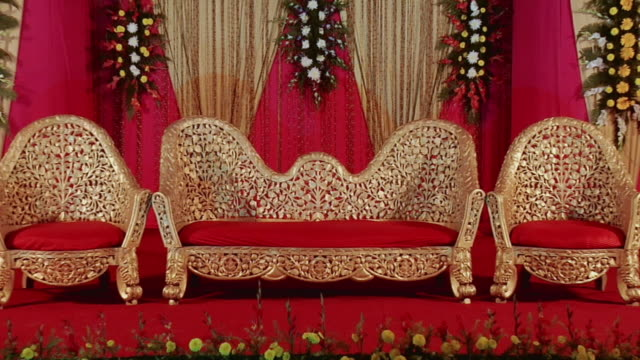 MS ZI View of decorated stage at wedding / New Delhi City, New Delhi, India