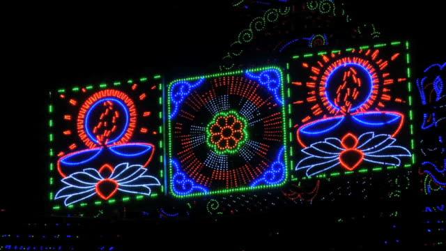 ms view of decorative lights on krishna janmashtami, huda gymkhana club, sector 29 / gurgaon, haryana, india - haryana stock-videos und b-roll-filmmaterial