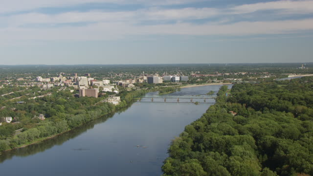 WS AERIAL View of Delaware river and downtown / Trenton, New Jersey, United States