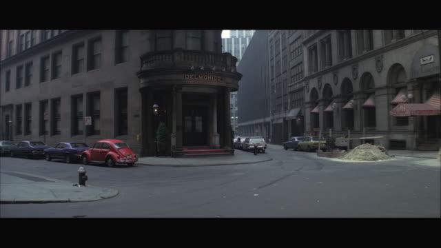 WS View of Delmonico's restaurant / New York City, USA