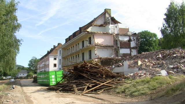ws view of demolition of appartment building / saarburg, rhineland-palatinate, germany - bad condition stock videos and b-roll footage