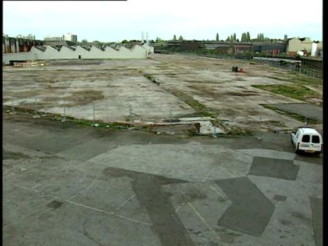 view of derelict area of longbridge car plant birmingham 2000 - longbridge stock videos & royalty-free footage