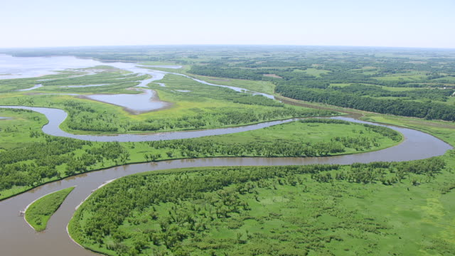 WS AERIAL POV View of Des Moines River / Marion County, Iowa, United States