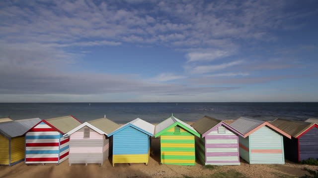 WS View of Deserted beach and colorful beach sheds (beach huts) on Brighton beach / Melbourne, Victoria, Australia