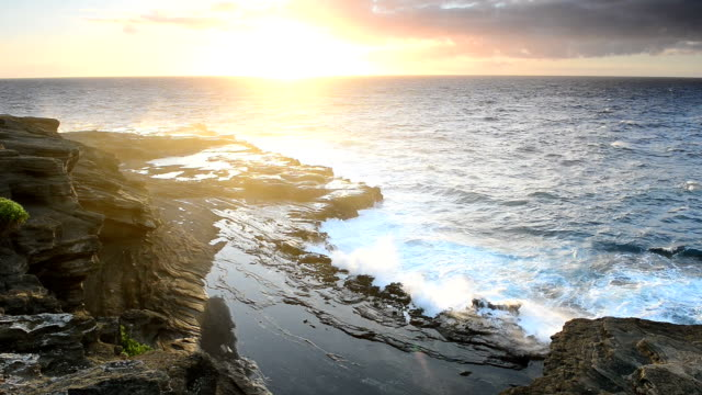 view of deserted coastline and sunrise, big surf - tide stock videos & royalty-free footage