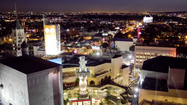 WS TD T/L View of deserted courtyard area and shops in Hollywood and Highland center / Hollywood, California, USA