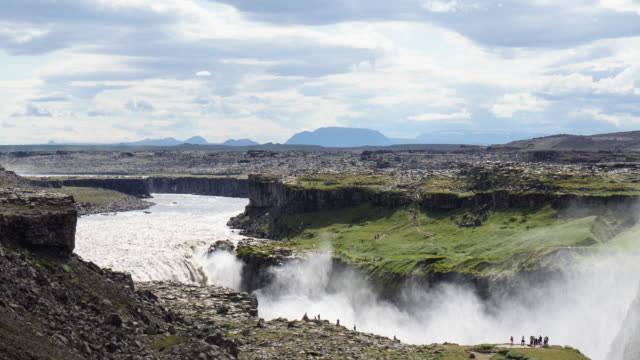 View of Dettifoss waterfall (The most powerful waterfall in Europe)