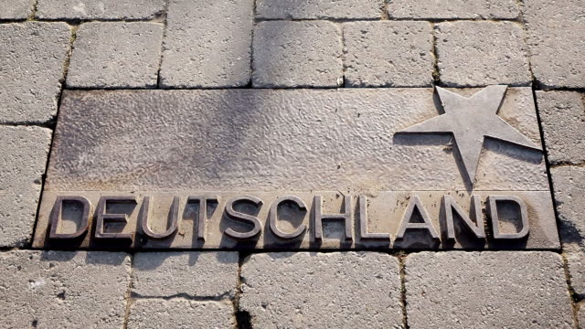 ws view of deutschland (germany) sign in front of the european museum / schengen, moselle, luxembourg - deutschland stock videos & royalty-free footage