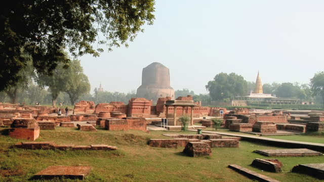 ws view of dhamek stupa / sarnath, uttar pradesh, india - stupa stock videos & royalty-free footage