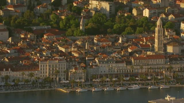 WS AERIAL View of Diocletian's Palace and harbor / Split, Split Dalmatia County, Croatia