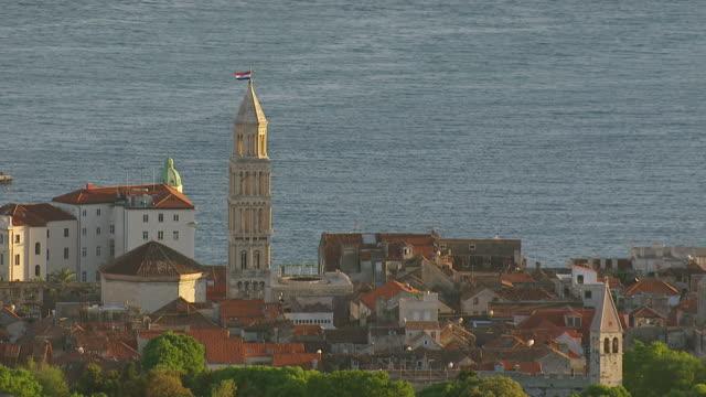MS AERIAL ZI View of Diocletian's Palace / Split, Split Dalmatia County, Croatia