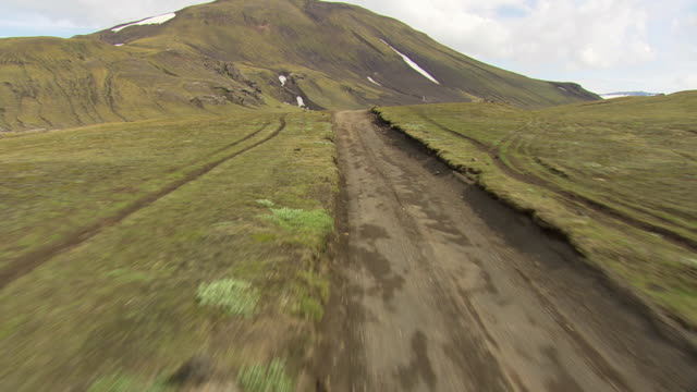 WS AERIAL View of dirt road and river at Landmannalaugur / Iceland