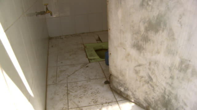 View of dirty toilet in India