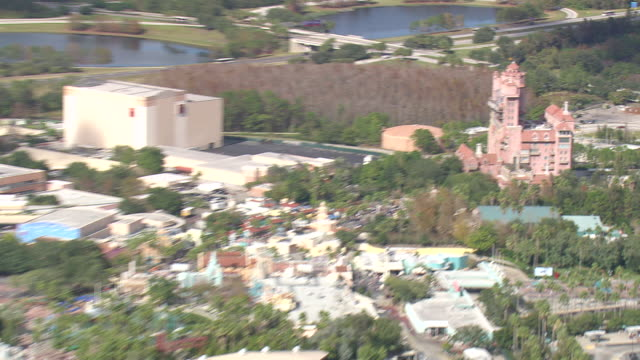 aerial ws zi zo view of disney hollywood studios / florida, united states - hollywood florida stock videos & royalty-free footage