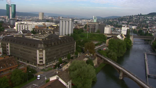 WS AERIAL View of district five and Limmat river / Zurich city, Zurich, Switzerland