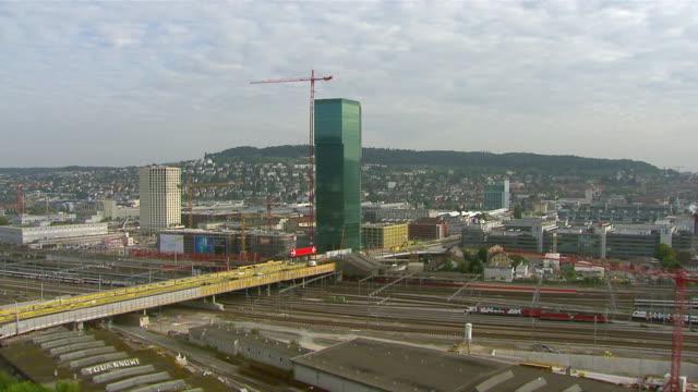 WS AERIAL View of district four with railways, Hardbrucke and Prime Tower / Zurich city, Zurich, Switzerland
