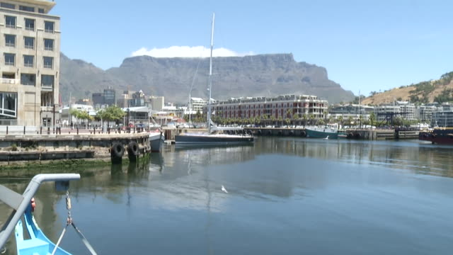 ws view of dock and harbor v&a waterfront / cape town, western cape, south africa - テーブルマウンテン国立公園点の映像素材/bロール