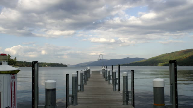 WS View of dock with lake and mountains / Lake George, New York, United States