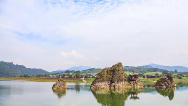 ws t/l view of dodamsambong (dodam three hills) with gazebo / dannyang, chungcheongbuk do, south korea - gazebo stock videos and b-roll footage