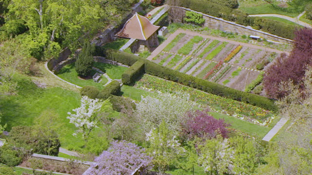 MS AERIAL POV View of Domestic garden at Dumbarton Oaks / Washington DC, United States