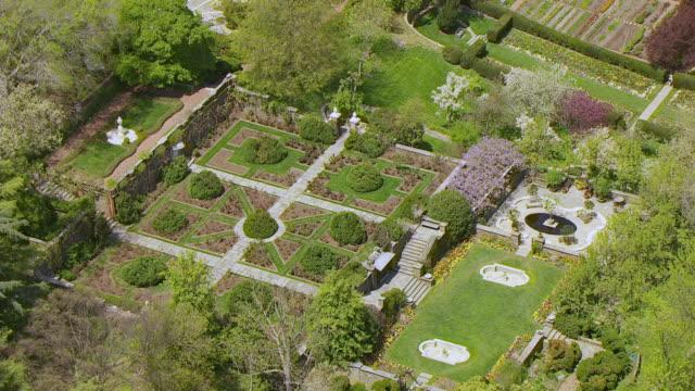 Ws Aerial Pov View Of Domestic Garden At Dumbarton Oaks Washington ...