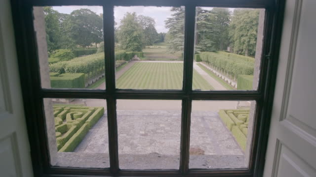 MS TU View of domestic garden taken from Ditchley House / Charlbury, Oxfordshire, England, United Kingdom