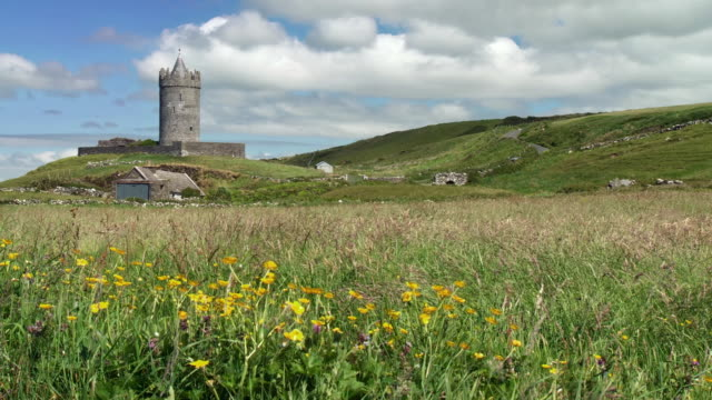 ws view of doonagore castle / doolin, county clare, ireland - doolin stock videos & royalty-free footage