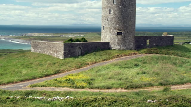 ws tu view of doonagore castle / doolin, county clare, ireland - doolin stock videos & royalty-free footage