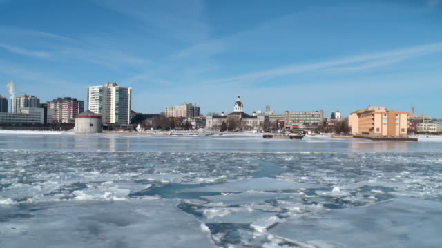 WS POV View of down town from winter ferry / Kingston, Ontario, Canada