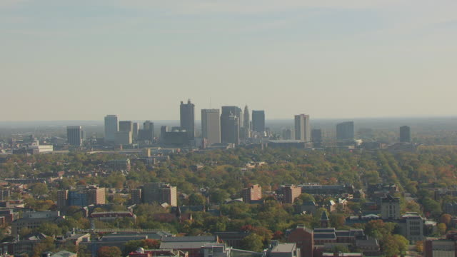 WS ZO AERIAL View of downtown and Ohio State University campus / Columbus, Ohio, United States