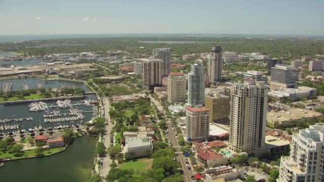 WS AERIAL View of downtown and skyscrapers / St Petersburg, Florida, United States