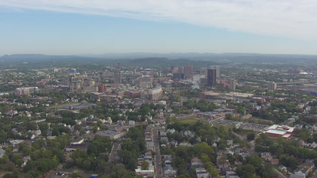 WS AERIAL POV View of downtown area / New Haven, Connecticut, United States
