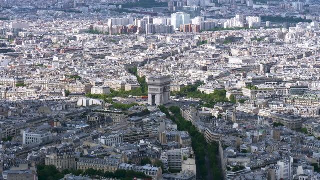 view of downtown around arc de triomphe(triumphal arch) / paris, france - arc de triomphe paris stock videos & royalty-free footage
