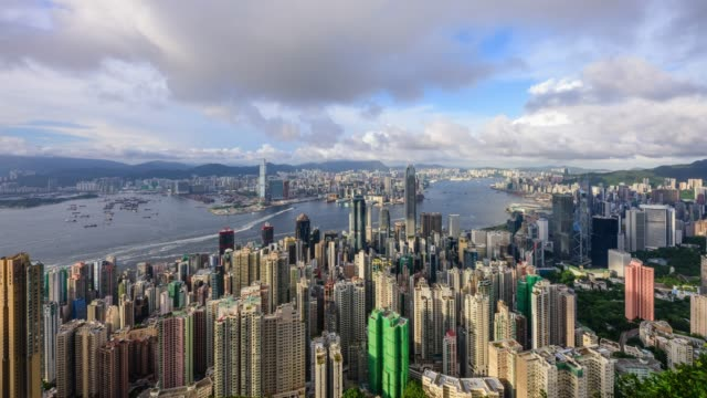 View of Downtown around Victoria Harbor with cloudscape in Hong Kong