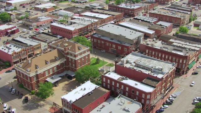 ws aerial view of downtown buildings  / guthrie, oklahoma, united states - oklahoma stock-videos und b-roll-filmmaterial