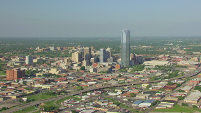 WS AERIAL View of Downtown buildings / Oklahoma City, Oklahoma, United States