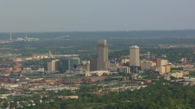 WS AERIAL View of Downtown buildings / Omaha, Nebraska, United States