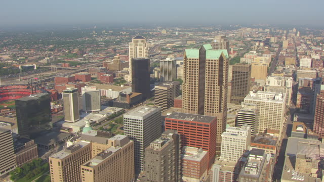 WS AERIAL View of downtown buildings / St Louis, Missouri, United States