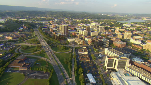 ws aerial view of downtown chattanooga ending at tennessee river / chattanooga, tennessee, united states  - chattanooga stock videos and b-roll footage